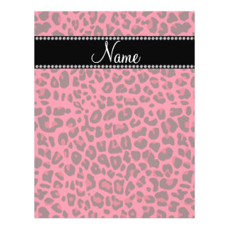 Personalized name pink leopard pattern flyer