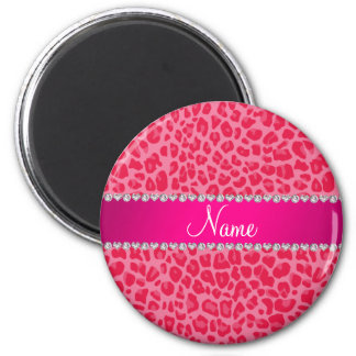 Personalized name pink leopard pattern magnet