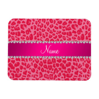 Personalized name pink leopard pattern vinyl magnets