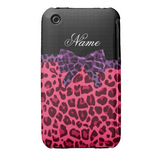 Personalized name pink leopard pattern purple bow iPhone 3 cases