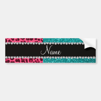 Personalized name pink leopard turquoise glitter bumper stickers