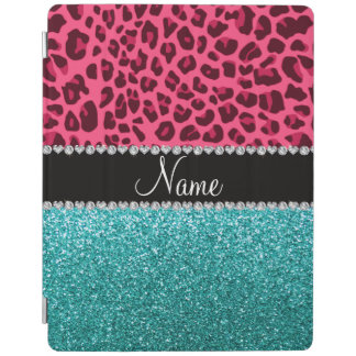 Personalized name pink leopard turquoise glitter iPad cover