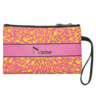 Personalized name pink lightning bolts wristlet clutch