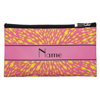 Personalized name pink lightning bolts cosmetic bag