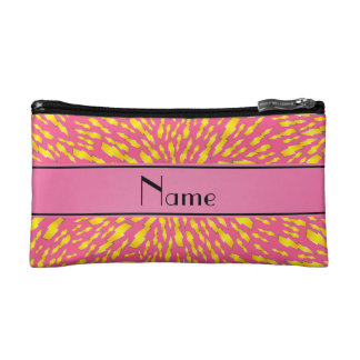 Personalized name pink lightning bolts makeup bag