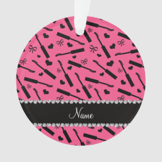 Personalized name pink mascara hearts bows ornament