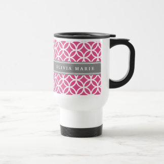 Personalized Name Pink Modern Circles Pattern Stainless Steel Travel Mug