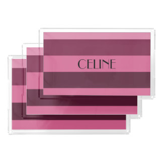Personalized Name Pink Monochrome Stripes Pattern