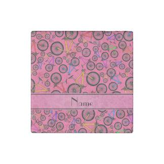 Personalized name pink mountain bikes stone magnet