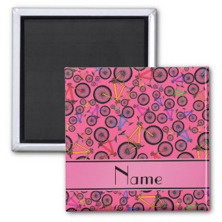 Personalized name pink mountain bikes refrigerator magnets