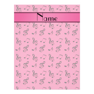 Personalized name pink music notes 21.5 cm x 28 cm flyer
