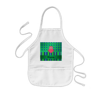 Personalized name pink owl green christmas trees apron