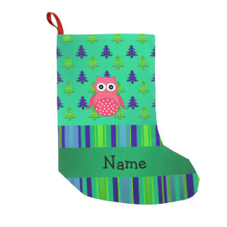 Personalized name pink owl green christmas trees small christmas stocking