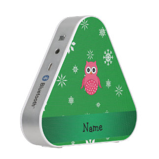 Personalized name pink owl green snowflakes speaker