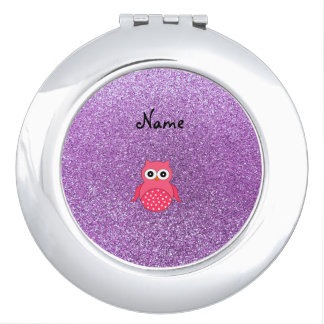 Personalized name pink owl light purple glitter makeup mirror