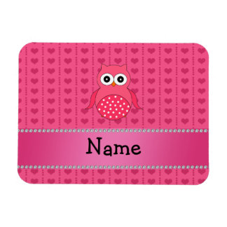 Personalized name pink owl pink hearts flexible magnet