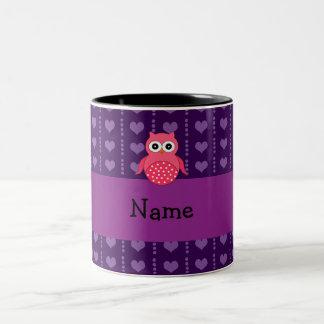 Personalized name pink owl purple hearts Two-Tone mug
