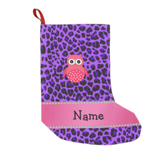 Personalized name pink owl purple leopard small christmas stocking