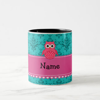Personalized name pink owl turquoise damask Two-Tone coffee mug