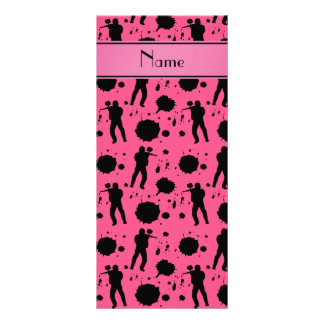 Personalized name pink paintball pattern full colour rack card