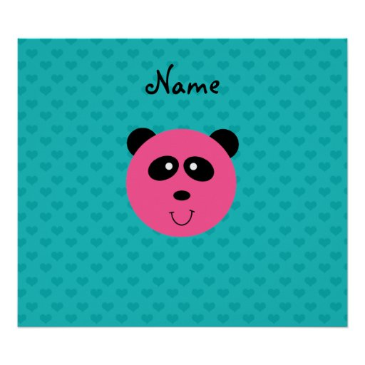 Personalized name pink panda head turquoise hearts poster