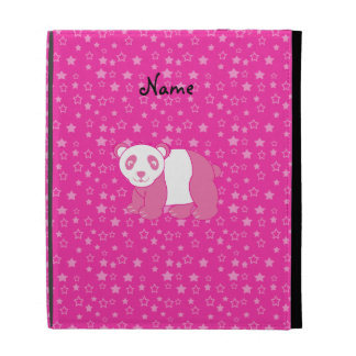 Personalized name pink panda pink stars iPad cases