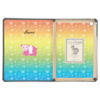 Personalized name pink panda rainbow hearts iPad air cases