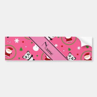 Personalized name pink panda santas christmas bumper sticker