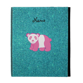 Personalized name pink panda turquoise glitter iPad folio cover