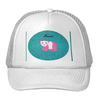 Personalized name pink panda turquoise glitter hats