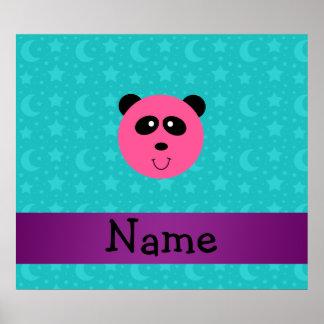Personalized name pink panda turquoise stars print