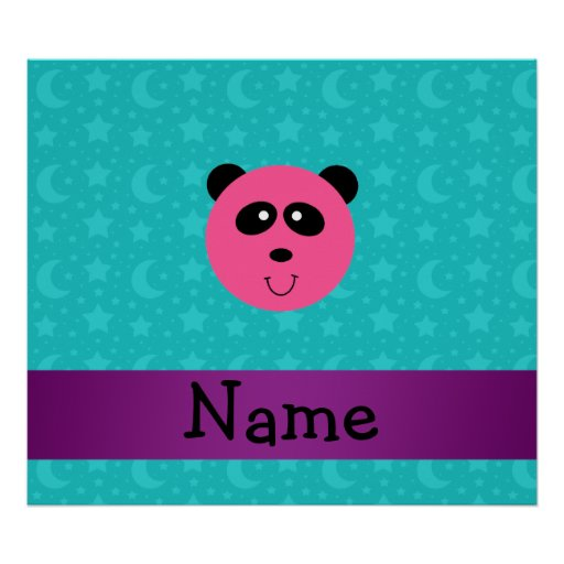 Personalized name pink panda turquoise stars print