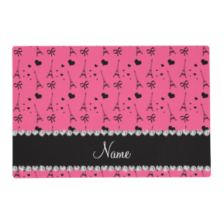 Personalized name pink paris eiffel tower laminated placemat