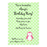 Personalized name pink penguin green polka dots announcements