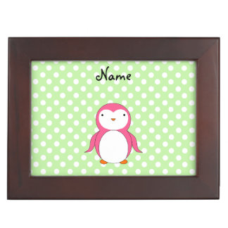 Personalized name pink penguin green polka dots keepsake box