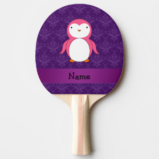 Personalized name pink penguin purple damask Ping-Pong paddle