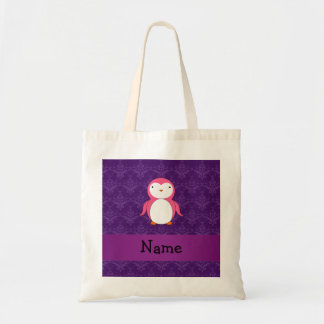 Personalized name pink penguin purple damask tote bag