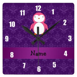 Personalized name pink penguin purple damask wallclock