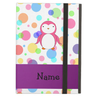 Personalized name pink penguin rainbow polka dots iPad air cover