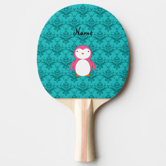 Personalized name pink penguin turquoise damask Ping-Pong paddle