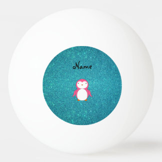 Personalized name pink penguin turquoise glitter ping pong ball