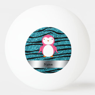 Personalized name pink penguin zebra stripes ping pong ball