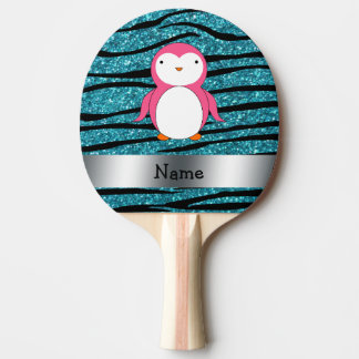 Personalized name pink penguin zebra stripes Ping-Pong paddle