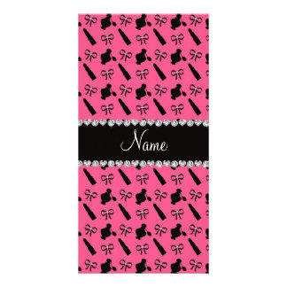 Personalized name pink perfume lipstick bows customised photo card