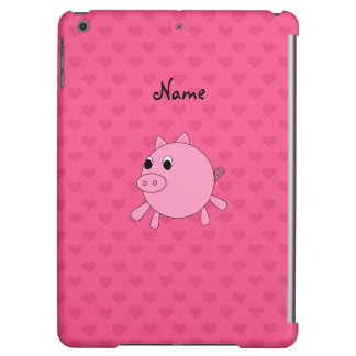 Personalized name pink pig hearts cover for iPad air