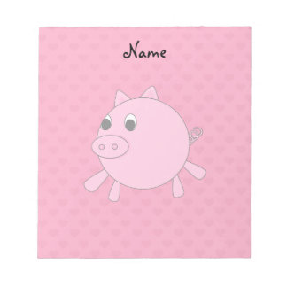 Personalized name pink pig hearts notepad