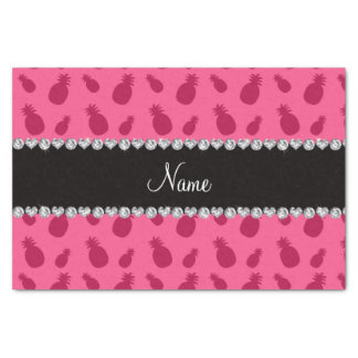 "Personalized name pink pineapple pattern 10"" x 15"" tissue paper"