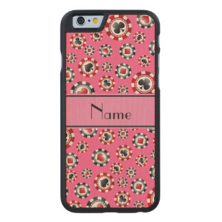 Personalized name pink poker chips carved® maple iPhone 6 case