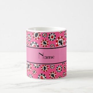 Personalized name pink poker chips coffee mugs