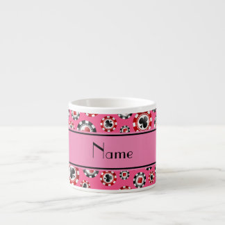 Personalized name pink poker chips espresso mug